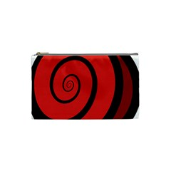 Double Spiral Thick Lines Black Red Cosmetic Bag (small)  by Mariart