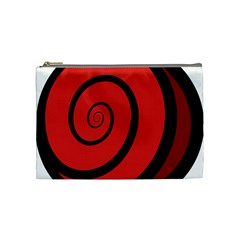 Double Spiral Thick Lines Black Red Cosmetic Bag (medium)  by Mariart