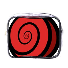 Double Spiral Thick Lines Black Red Mini Toiletries Bags by Mariart