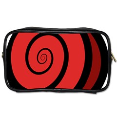 Double Spiral Thick Lines Black Red Toiletries Bags by Mariart