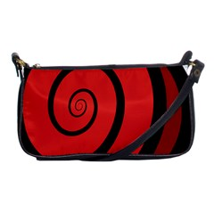 Double Spiral Thick Lines Black Red Shoulder Clutch Bags by Mariart