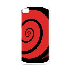 Double Spiral Thick Lines Black Red Apple Iphone 4 Case (white) by Mariart