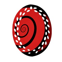 Double Spiral Thick Lines Black Red Oval Filigree Ornament (two Sides) by Mariart