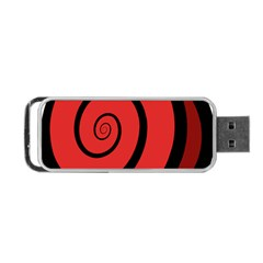 Double Spiral Thick Lines Black Red Portable Usb Flash (one Side) by Mariart