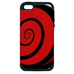 Double Spiral Thick Lines Black Red Apple Iphone 5 Hardshell Case (pc+silicone) by Mariart