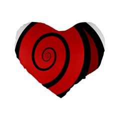 Double Spiral Thick Lines Black Red Standard 16  Premium Flano Heart Shape Cushions by Mariart
