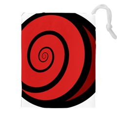 Double Spiral Thick Lines Black Red Drawstring Pouches (xxl) by Mariart