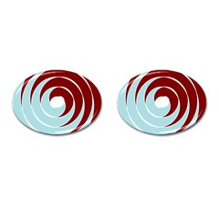 Double Spiral Thick Lines Blue Red Cufflinks (oval) by Mariart