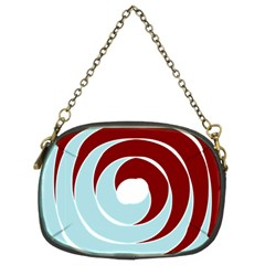 Double Spiral Thick Lines Blue Red Chain Purses (two Sides)  by Mariart