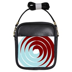 Double Spiral Thick Lines Blue Red Girls Sling Bags by Mariart