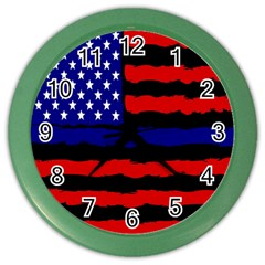 Flag American Line Star Red Blue White Black Beauty Color Wall Clocks by Mariart