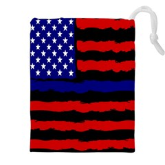 Flag American Line Star Red Blue White Black Beauty Drawstring Pouches (xxl) by Mariart