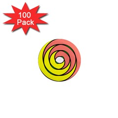 Double Spiral Thick Lines Circle 1  Mini Magnets (100 Pack)  by Mariart