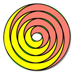Double Spiral Thick Lines Circle Magnet 5  (round) by Mariart