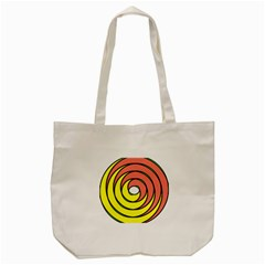 Double Spiral Thick Lines Circle Tote Bag (cream) by Mariart