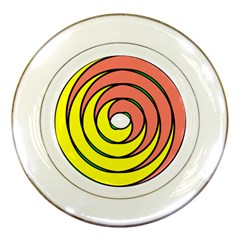 Double Spiral Thick Lines Circle Porcelain Plates by Mariart