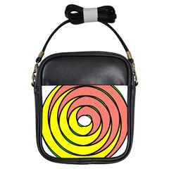 Double Spiral Thick Lines Circle Girls Sling Bags by Mariart