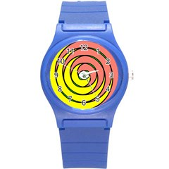 Double Spiral Thick Lines Circle Round Plastic Sport Watch (s) by Mariart