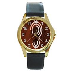 Fan Line Chevron Wave Brown Round Gold Metal Watch by Mariart