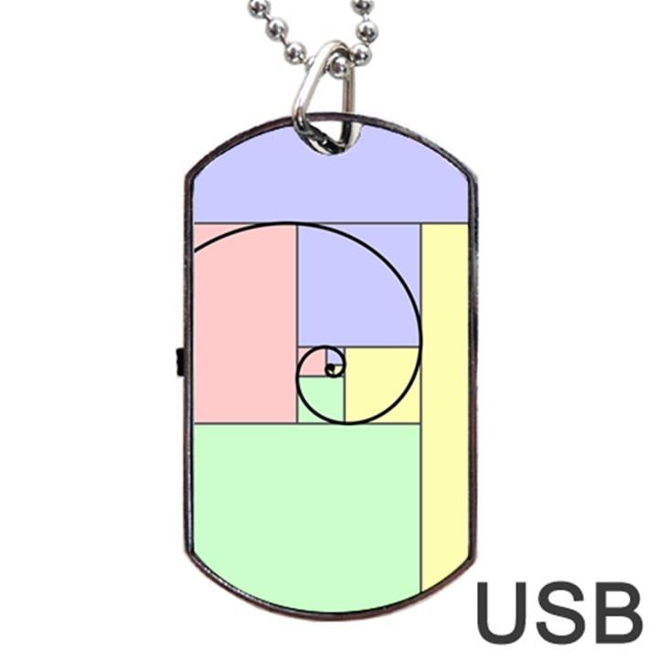 Golden Spiral Logarithmic Color Dog Tag USB Flash (One Side)