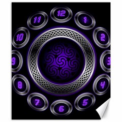 Digital Celtic Clock Template Time Number Purple Canvas 8  X 10  by Mariart