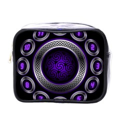 Digital Celtic Clock Template Time Number Purple Mini Toiletries Bags by Mariart