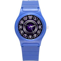 Digital Celtic Clock Template Time Number Purple Round Plastic Sport Watch (s) by Mariart
