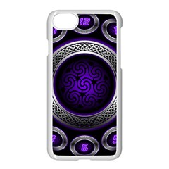 Digital Celtic Clock Template Time Number Purple Apple Iphone 7 Seamless Case (white) by Mariart