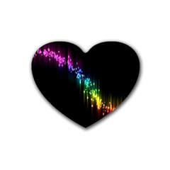 Illustration Light Space Rainbow Rubber Coaster (heart)  by Mariart