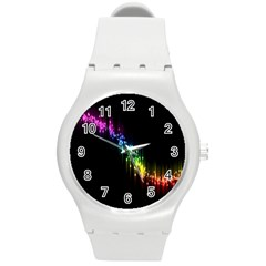 Illustration Light Space Rainbow Round Plastic Sport Watch (m) by Mariart