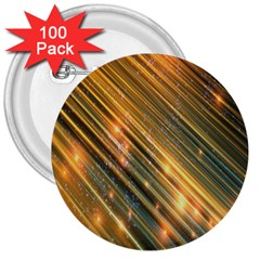Golden Blue Lines Sparkling Wild Animation Background Space 3  Buttons (100 Pack)  by Mariart