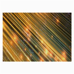 Golden Blue Lines Sparkling Wild Animation Background Space Large Glasses Cloth (2 Side) by Mariart