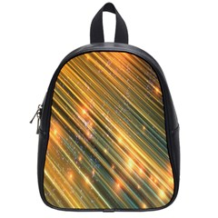 Golden Blue Lines Sparkling Wild Animation Background Space School Bag (small) by Mariart