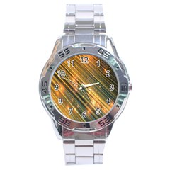 Golden Blue Lines Sparkling Wild Animation Background Space Stainless Steel Analogue Watch by Mariart