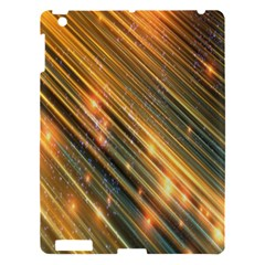 Golden Blue Lines Sparkling Wild Animation Background Space Apple Ipad 3/4 Hardshell Case by Mariart