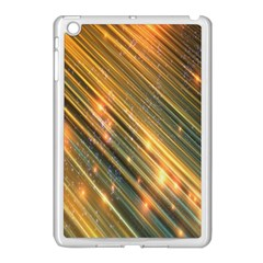 Golden Blue Lines Sparkling Wild Animation Background Space Apple Ipad Mini Case (white) by Mariart