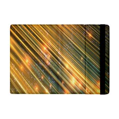 Golden Blue Lines Sparkling Wild Animation Background Space Ipad Mini 2 Flip Cases by Mariart