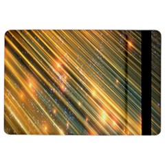 Golden Blue Lines Sparkling Wild Animation Background Space Ipad Air 2 Flip by Mariart
