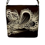 Brown abstract bag - Flap Closure Messenger Bag (L)