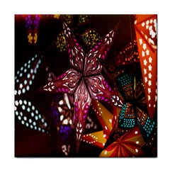Hanging Paper Star Lights Tile Coasters by Mariart