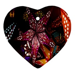 Hanging Paper Star Lights Ornament (heart) by Mariart