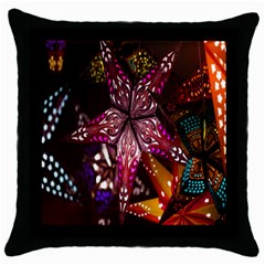 Hanging Paper Star Lights Throw Pillow Case (black) by Mariart