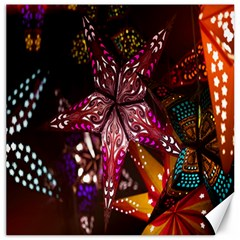 Hanging Paper Star Lights Canvas 16  X 16   by Mariart