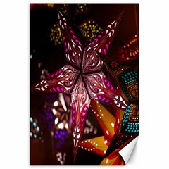 Hanging Paper Star Lights Canvas 24  X 36  by Mariart