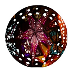 Hanging Paper Star Lights Round Filigree Ornament (two Sides) by Mariart