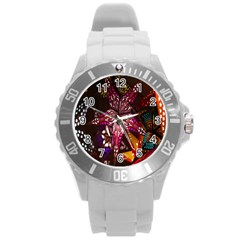 Hanging Paper Star Lights Round Plastic Sport Watch (l) by Mariart
