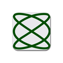 Lissajous Small Green Line Rubber Square Coaster (4 Pack)  by Mariart