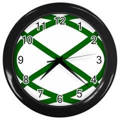 Lissajous Small Green Line Wall Clocks (black) by Mariart