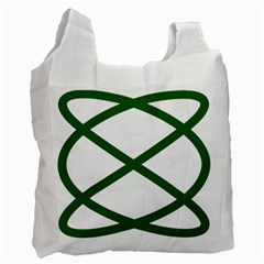 Lissajous Small Green Line Recycle Bag (two Side)  by Mariart