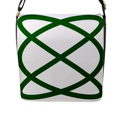 Lissajous Small Green Line Flap Messenger Bag (l)  by Mariart